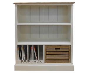 Libreria in legno a 2 scomparti, portariviste e 1 cassetto Globe - 98x32x118 cm