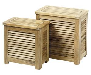 set di 2 contenitori biancheria in teak classic naturale - max 36x52x55 cm