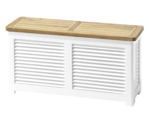 panca contenitore in teak lorena bianco - 48x90x30 cm