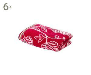set di 6 asciugamani viso in cotone Harlequin Flavia rosso - 50x100 cm