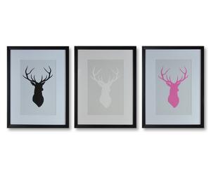 Kunstdruck-Set Stags, 3-tlg., je 30 x 40 cm