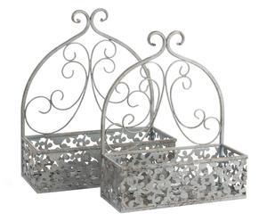 set di 2 fioriere da parete in metallo romy grigio - max 34x15x39 cm