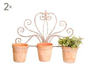 Set di 2 fioriere da muro a 3 vasi OLD PALACE - 68X19X39 cm