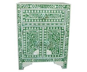 Comodino in palissandro e osso JAYA verde - 30x60x45 cm