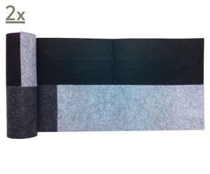 Set di 2 Runner in feltro Patchwork nero - 35x140 cm