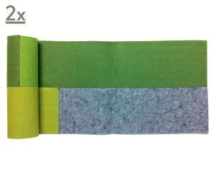 Set di 2 Runner in feltro Patchwork verde - 35x140 cm