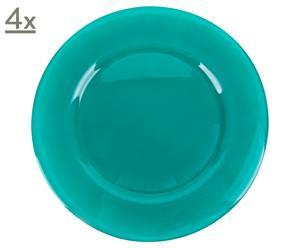 Set di 4 piatti piani da portata in vetro Love verde scuro - D 36 cm