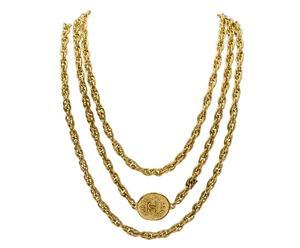 collana a 3 file vintage con logo in ottone dorato CHANEL