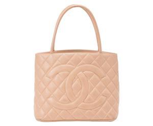 Chanel Medallion Caviar Skin Tote Tasche, beige