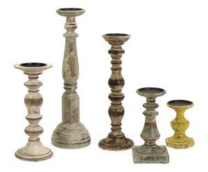 Set di 5 candelieri in legno e metallo Kanan