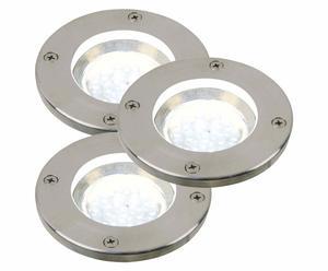 set di 3 faretti da terra per esterni round - d 10/h 14 cm