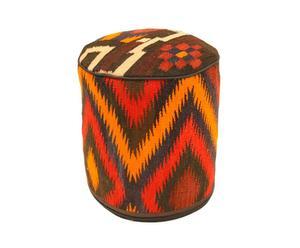 Pouf huacho in tessuto kilim e lana - D 37/h 40 cm