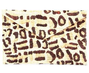 Borsa a busta in rafia leopardata Baha marrone e naturale - 23X15X1 cm