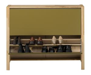 Scarpiera in legno di faggio a 2 scomparti - 109X88X26 cm