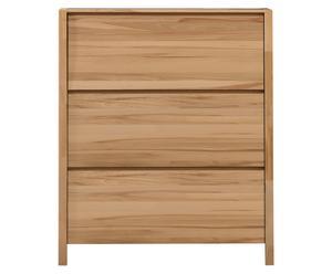 Scarpiera in legno di faggio a 3 scomparti - 109X126X26 cm