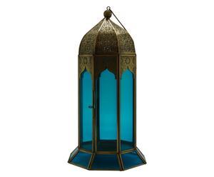 Lanterna in ottone e vetro turchese Blu - d 17/H 33 cm
