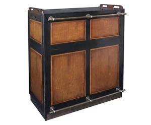 mobile bar in ciliegio selvatico e acero casablanca - 104x121x52 cm