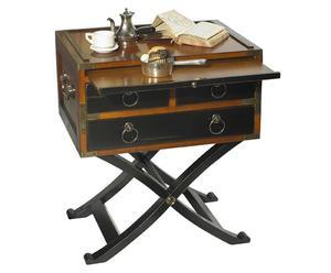 tavolino in ciliegio selvatico e acero Bombay nero - 56x40x66 cm