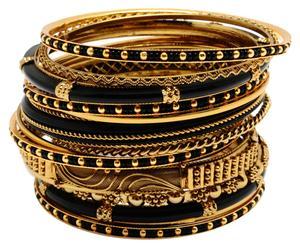 Set di 18 bracciali in metallo con applicazioni in resina Ransa - C 15 cm