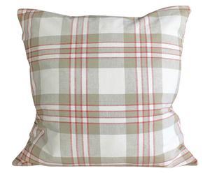 Cuscino in cotone bianco, rosso e grigio Tartan - 50x50 cm