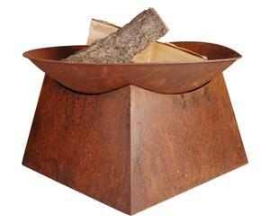 Braciere in metallo verniciato Dover marrone - 57x33x57 cm