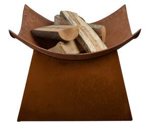 Braciere in metallo verniciato Denver marrone - 50x37x50 cm