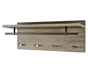 mensola appendiabiti a 4 ganci in legno marrone pablo - 75x30x26 cm