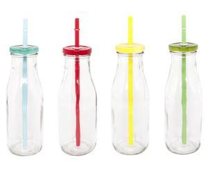 Set di 4 bottiglie in vetro con cannuccia James - h 19 cm