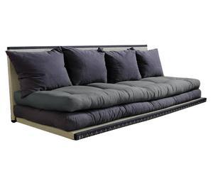 Divano/futon multifunzionale TATAMI grigio e marrone - 200x80 cm