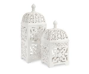 Set di 2 lanterne in ceramica bianca Floral - max 14x36x14 cm