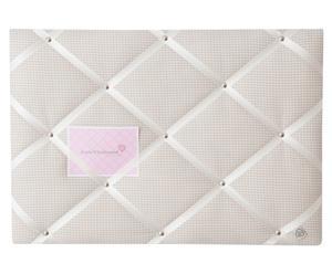 Lavagna porta appunti in cotone Classico beige/bianco - 45x65 cm