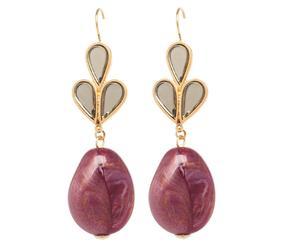 Paio di orecchini in metallo con inserti in resina Estola - viola