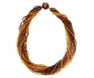 Collana in metallo con perline in vetro Risa - marrone