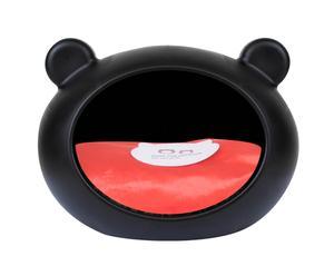 Cuccia in plastica con cuscino interno Cave nero/rosso - 52x40x40 cm