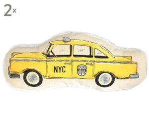 Set di 2 giochi per cani in cotone e velluto Taxi - 20x2x8 cm