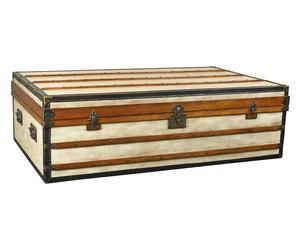 Baule/tavolino in legno e pelle Polo Club, 122x53x72 cm
