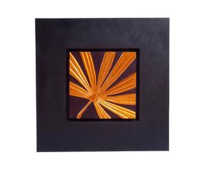 Quadro con cornice in legno e foglie naturali Gold Palm - 58x54 cm