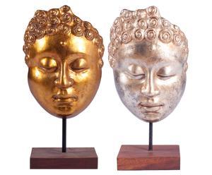 Set di 2 sculture decorative in pietra Buddha