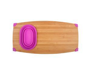 Tagliere in legno di bambu' e silicone con ciotolina Over