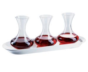 Set di 3 decanter in vetro con vassoio in porcellana - Vino Rosso