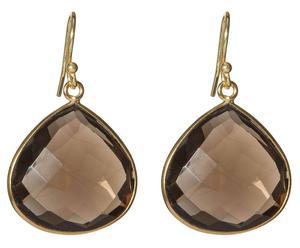 orecchini in ottone placcato oro con quarzo Aliana - H4 cm