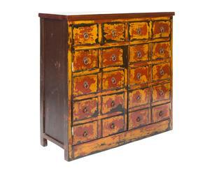 Credenza in legno di olmo a due ante e quattro cassetti Xiang - 94x96x38 cm