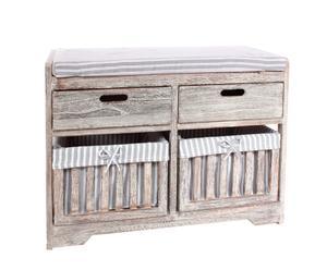 Cassettiera in legno decape' e tela Country - 69X35X50