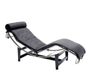 Chaise longue in acciaio inox e pelle Suerte - 71x158x58 cm