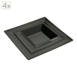 Set di piatti (piano+fondo+dessert) in ceramica Black
