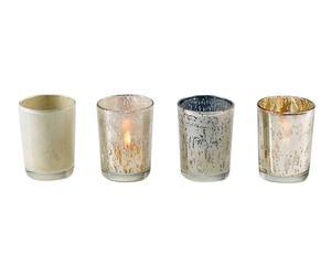 set di 4 portacandele in vetro e metallo metallizzato - d 6/h 7 cm