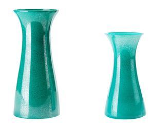 set di 2 vasi decorativi in vetro verde - max 44x15 cm