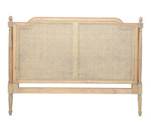 Testata letto matrimoniale in legno di pioppo e rattan Margot - 120x160x6 cm