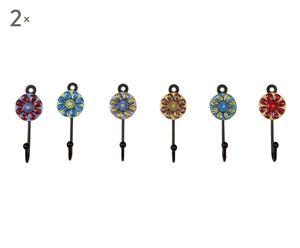set di 12 appendini in ceramica e ferro multicolor - 4x9x2 cm