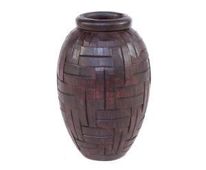 vaso decorativo in legno naturale - 19x30 cm